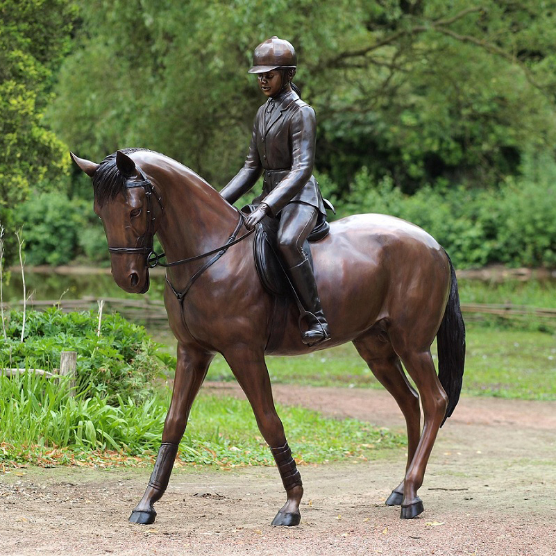 Large bronze cast soldier statues riding a horse