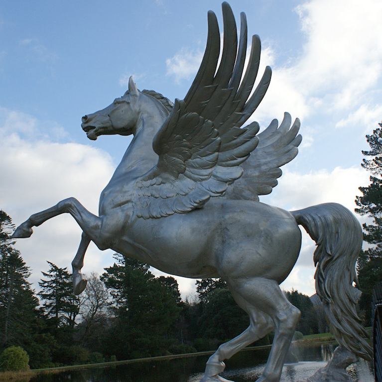 Life size brass horse jumping wings sculpture