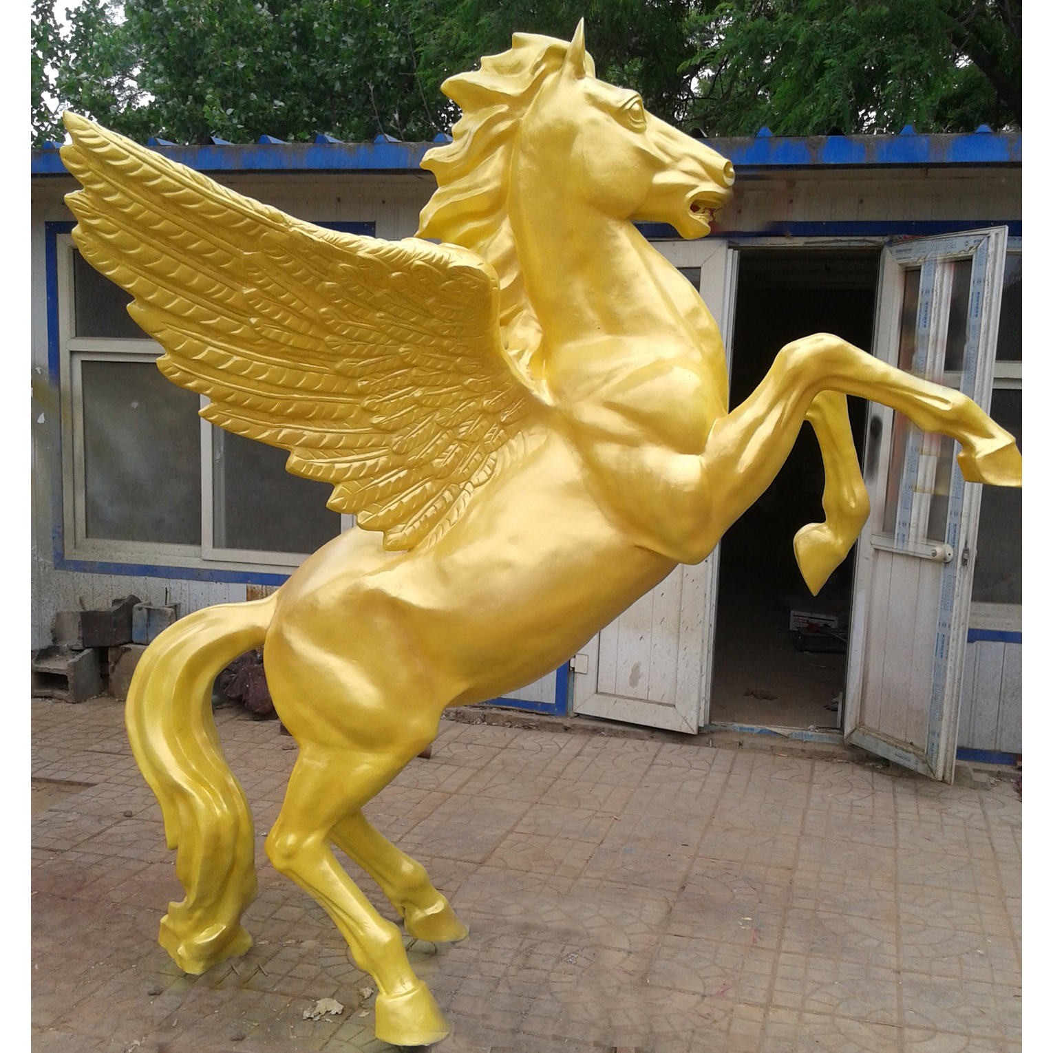 large gold plated jumping bronze horse statue with wings