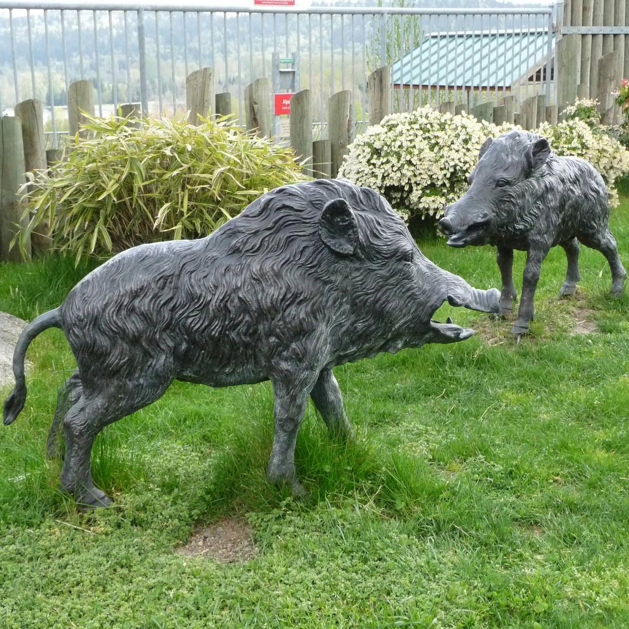 animal garden. Bronze Wild Animal Garden Boar Statues