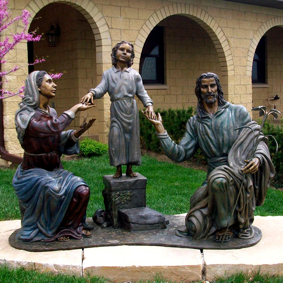 A family of jesus bronze statue for garden and park decoration