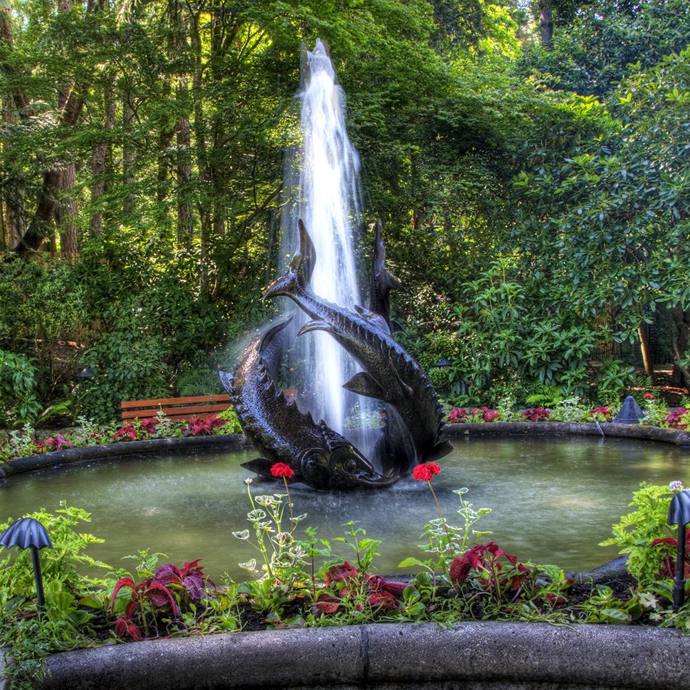 Three Large Fishes Bronze Garden Fountain